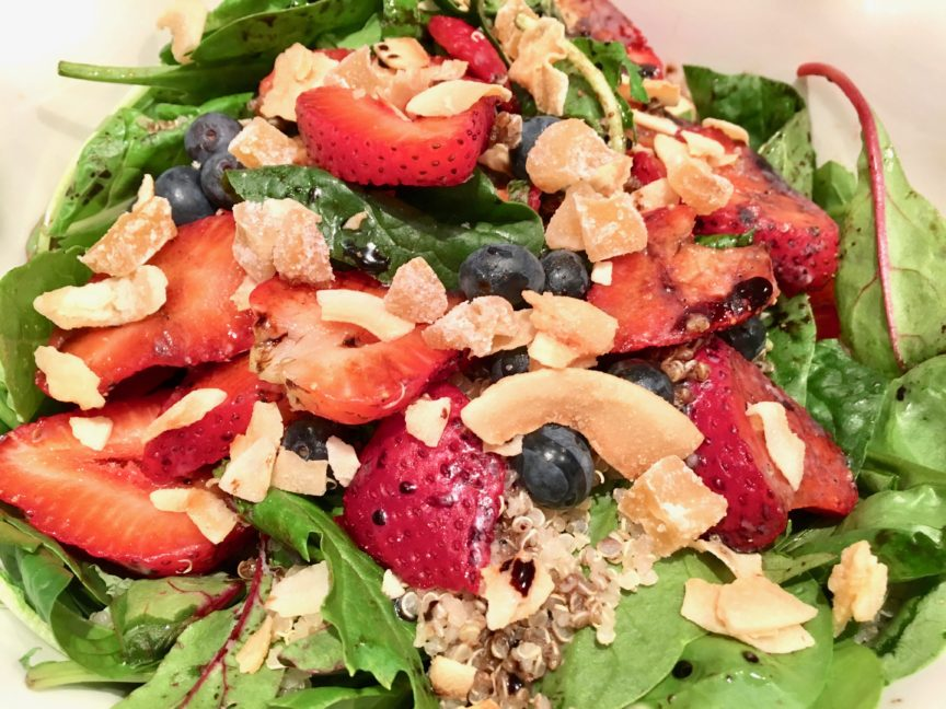 STRAWBERRY QUINOA SALAD WITH TOASTED COCONUT AND CRYSTALIZED GINGER