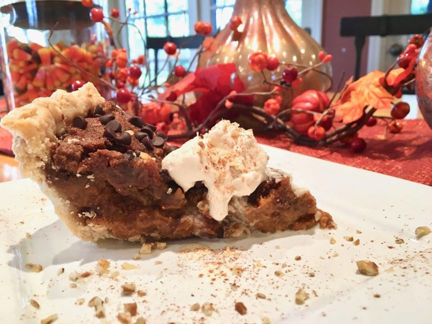 PUMPKIN PECAN PIE WITH CHOCOLATE AND MAPLE WHIPPED CREAM